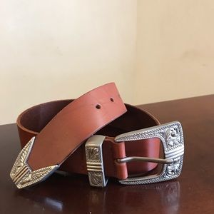 Brown 100% cow leather belt